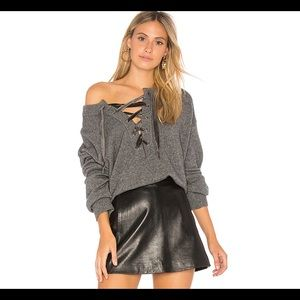 Rails Olivia Lace Up Sweater in Ash